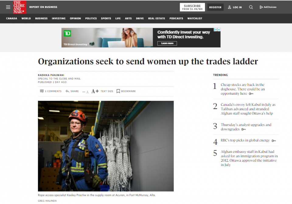 """In the News: """"Organizations seek to send women up the trades ladder"""""""